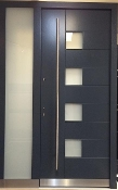 Model 021 Modern Grey Finish Wood Exterior Door w/ Side Panel