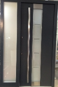 Model 023 Modern Grey Finish Wood Exterior Door w/ Side Panel