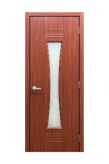 M 61 Sapeli Laminate Modern Interior Door w/ Frosted Glass