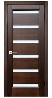 Tokio Wenge Finish Modern Interior Door w/Frosted Glass