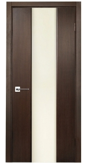 Loda Wenge Finish Modern Interior Door w/Frosted Glass