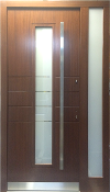 Model 054 Modern Walnut Wood Exterior Door w/ Side Panel
