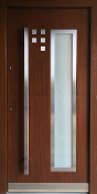 Model 033 Modern Walnut Exterior Door w/ Frosted Glass