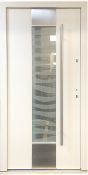 Model 034 Modern Satin White Exterior Door w/ Frosted Glass