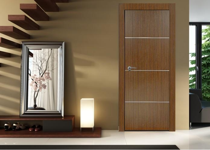 Madrid Espresso Finish Modern Interior Door W Aluminum