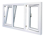 "W 84"" x H 36"" Triple Section PVC Tilt and Turn Window"