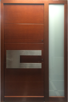 Model 053 Modern Sapele Wood Exterior Door w/ Side Panel