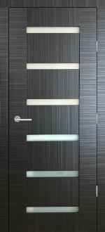 """Sorrento"" Black Ebony Modern Interior Door w/ Frosted Glass"
