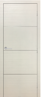 """Madrid"" White Modern Interior Door w/Aluminum Strip Design"
