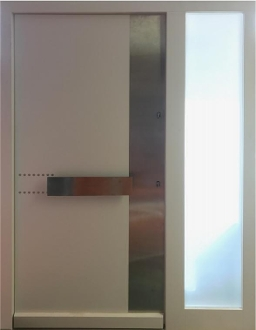 Model 107 Modern Wood Entry Door White Finish w/ Side Panel