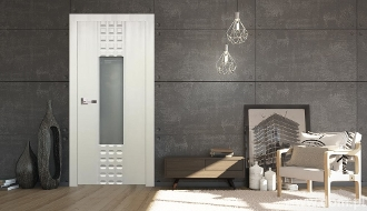 """Prima Glass""Satin White Finish Transitional Style Interior Door"