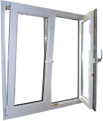 "W 48"" x H 54"" PVC Tilt and Turn Window"