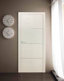 Madrid Contemporary Interior Door Satin White Finish w/ Aluminum