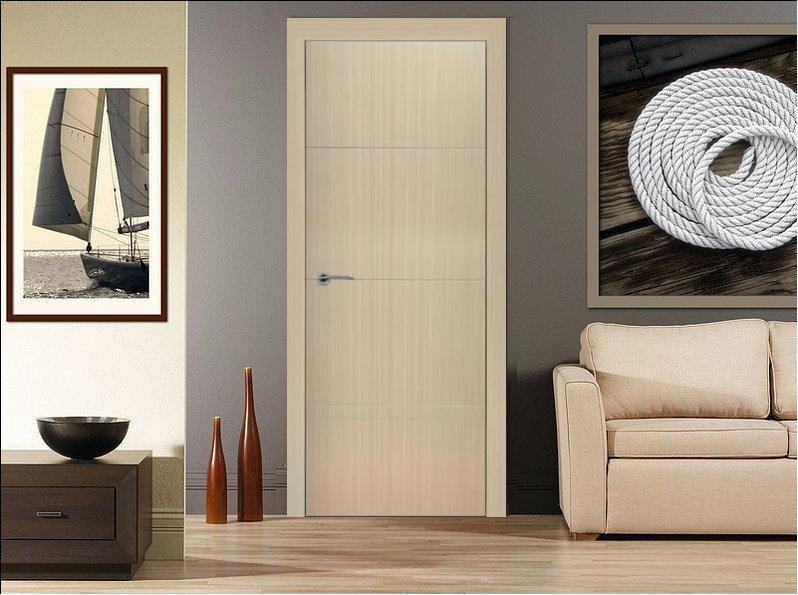 Madrid Bleached Oak Finish Modern Interior Door W Aluminum Strips