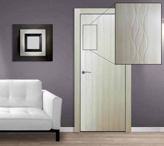 Seville Cedar Finish Modern Interior Door w/Embossed Design